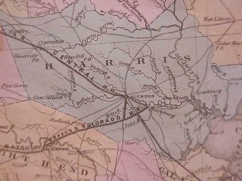 1858 map showing the railroad from Harrisburg to Richmond.