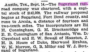 The Sugar Land RR is chartered and funded.