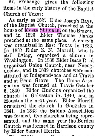Early history of the Baptist Church in Texas