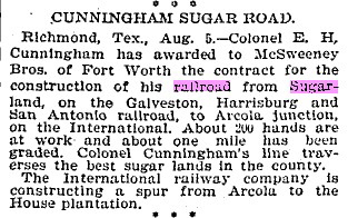 A contract is awarded to build the Sugar Land RR.