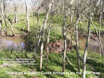This crossing of Oyster Creek at Juliff is on the 1890 map.
