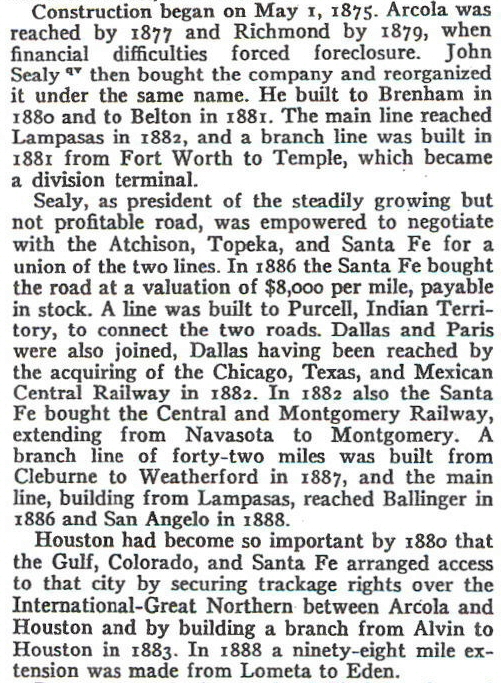 Railroad construction dates for the town of Arcola, Texas..