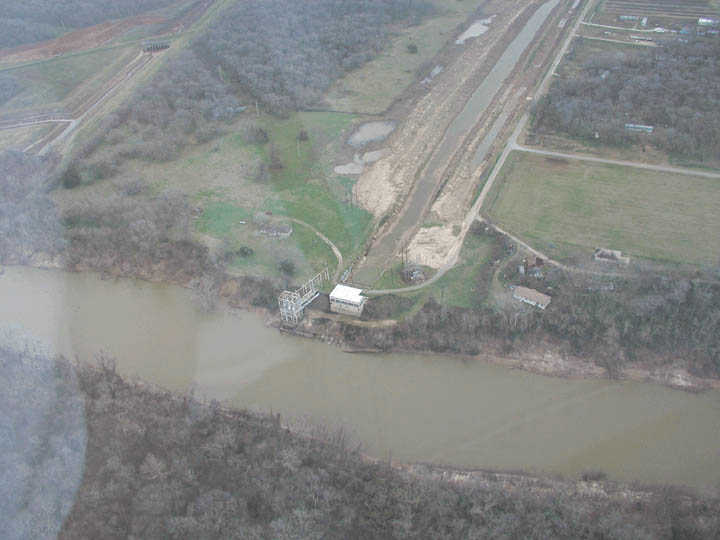 The Brazos River at Miller Rd pumping station in eastern Fort Bend County, Texas. This is considered low water level.
