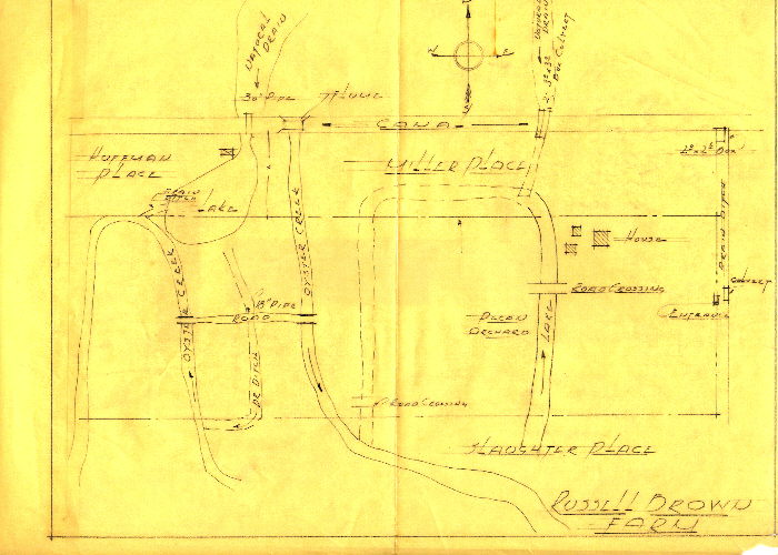 Russel Brown's sketch of his property before Miller Rd was built.